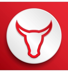 Bull head button symbol vector