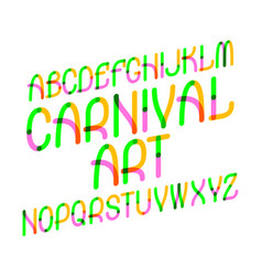 carnival art typeface colorful font isolated vector image