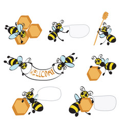 cartoon bees with honeycomb vector image vector image