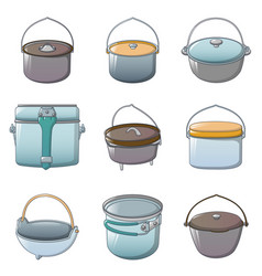 cauldron kettle halloween icons set cartoon style vector image