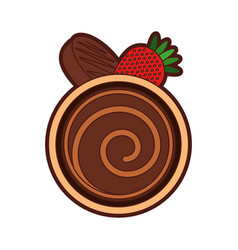 Chocolate roll cake vector