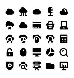 Cloud computing solid icons vector
