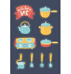 collection cookware set kitchenware vector image