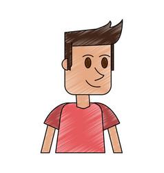 Color pencil cartoon closeup half body guy with t vector