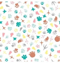 Colorful animal footprints seamless pattern vector