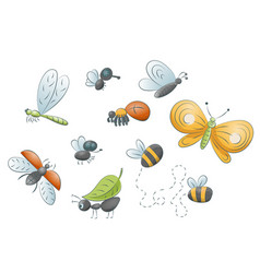 Cute cartoon insects vector