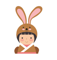 Cute japanese doll with a disguise of a rabbit vector
