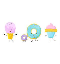cute sweet cartoon food icons set vector image