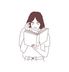 cute young woman reading book or preparing for vector image
