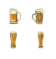 doodle beer glasses vector image