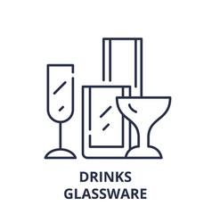 drinks glassware line icon concept drinks vector image