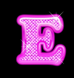 E letter pink bling girly vector