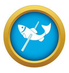Fishing icon blue isolated vector