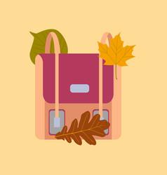 flat icon on stylish background school bag leaves vector image