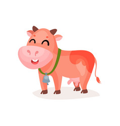 funny smiling spotted cow with bell on its neck vector image