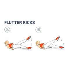 Girl doing flutter kicks exercise fitness home vector