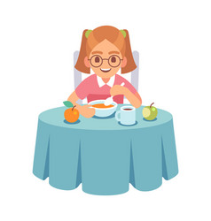 girl eating dinner or lunch toddler sits vector image