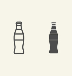 Glass bottle line and glyph icon soda in bottle vector