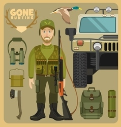 Gone hunting with hummer vector image