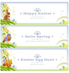 Happy easter spring nature banner set vector