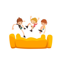 Happy kids jumping on inflatable trampoline vector