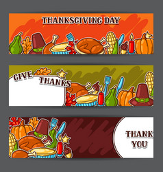 Happy thanksgiving day banners with holiday vector