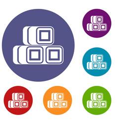 hay bundles icons set vector image