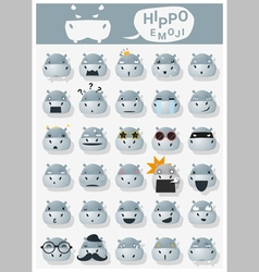 Hippopotamus emoji icons vector image