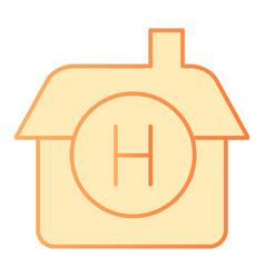 hotel flat icon house orange icons in trendy flat vector image