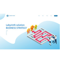 isometric maze labyrinth solution business team vector image