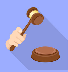 Judge gavel decision icon flat style vector