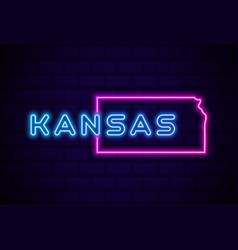 Kansas us state glowing neon lamp sign realistic vector
