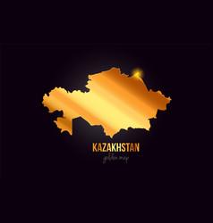 Kazakhstan country border map in gold golden vector