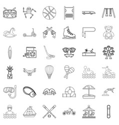 Kid thing icons set outline style vector