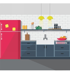 Kitchen furniture Cozy interior vector image