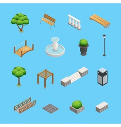 Landscaping isometric elements vector