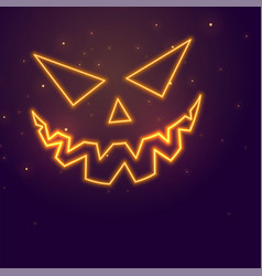 laughing ghost face neon style halloween festival vector image