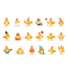 Little yellow chicken chick different emotions and vector