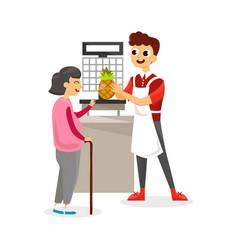 man helping elderly woman in shop vector image