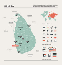 map sri lanka country map with division cities vector image