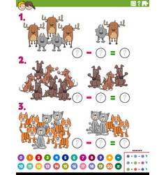 Maths subtraction educational task with comic vector