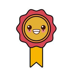 medal award symbol cute kawaii cartoon vector image
