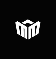 mm logo monogram with emblem style ribbon design vector image