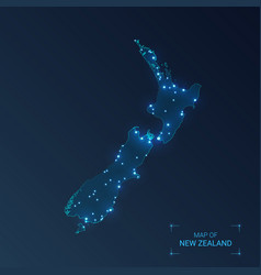 New zealand map with cities luminous dots - neon vector