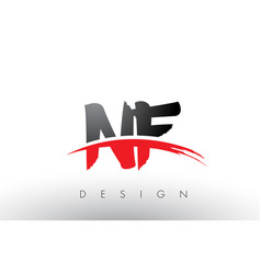 nf n f brush logo letters with red and black vector image