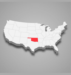 Oklahoma state location within united states 3d vector