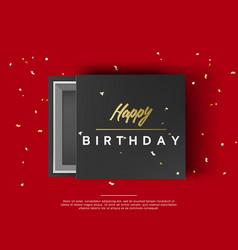 opened black cardboard package mock up box gift vector image
