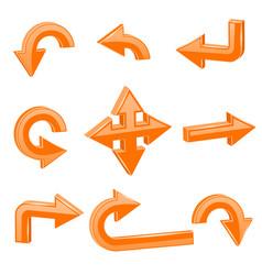 orange 3d arrows different directions vector image