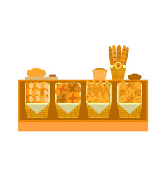 ounter stall bakery food products bread vector image