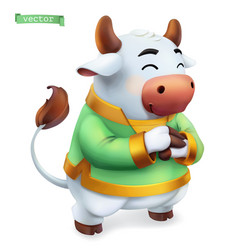 ox bull funny animal in chinese zodiac vector image